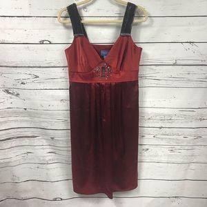 Simply Vera Wang red satin and velvet strap dress
